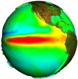 Le phénomène El Niño, en 1997, observé par Topex/Poséidon.