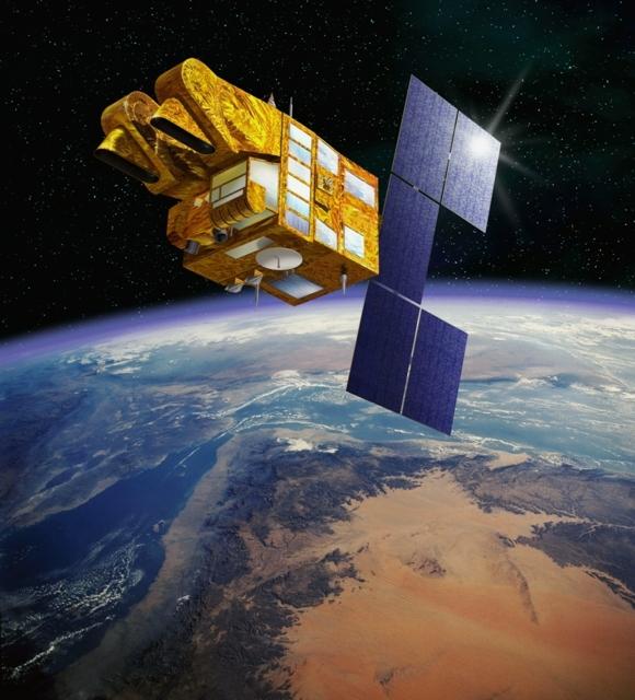 Satellite SPOT-5 en orbite depuis 2002. Crédits : CNES/Ill. D. Ducros.