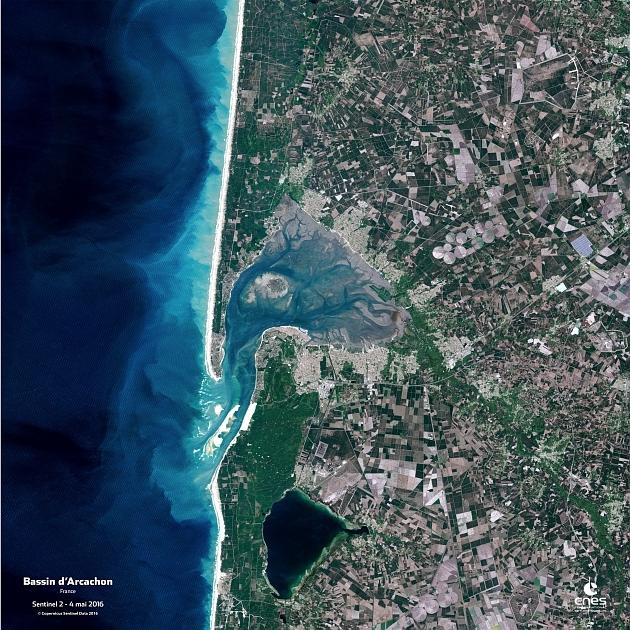 Le bassin d'Arcachon vu par le satellite Sentinel 2