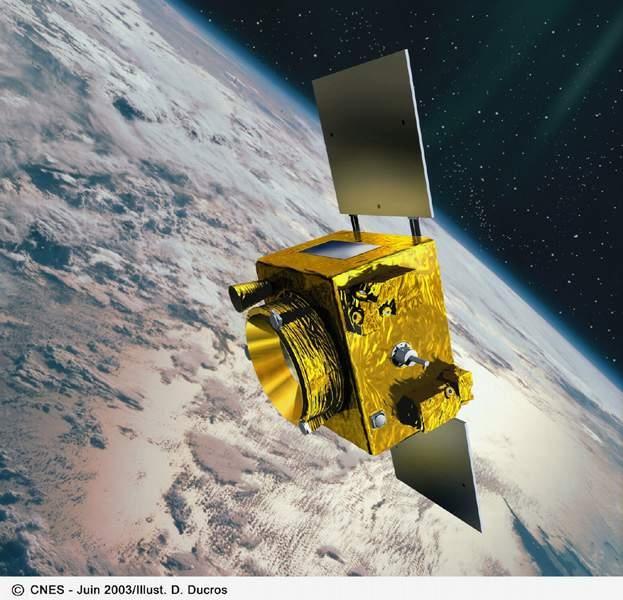 Vue d'artiste du satellite Microscope. Crédits : CNES/Ill. D. Ducors