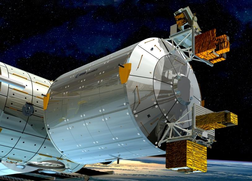 Vue d'artiste du module européen Columbus. ESA - D. Ducros