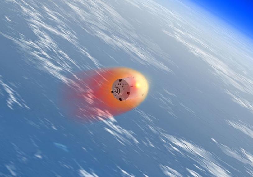La destruction de l'ATV sera observée de nuit à l'aide de caméras infrarouge. Crédits : ESA/Ill. D. Ducros, 2007.