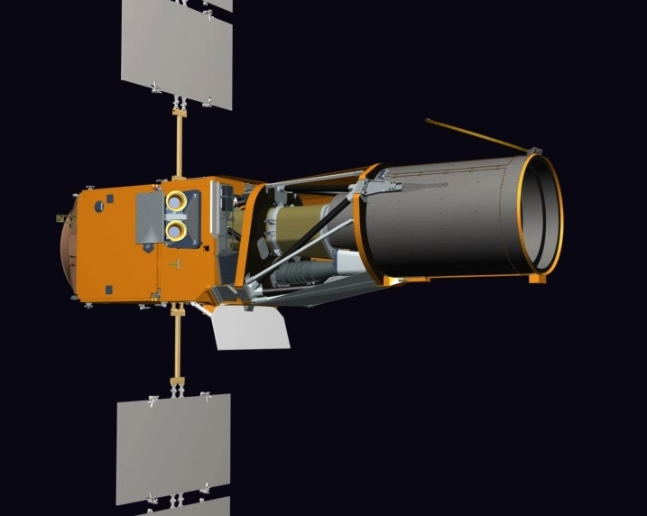 The CoRoT instrument comprises a telescope, camera, equipment bay and flight software. Credits: Thales Alenia Space/JL. Bazile 2006.