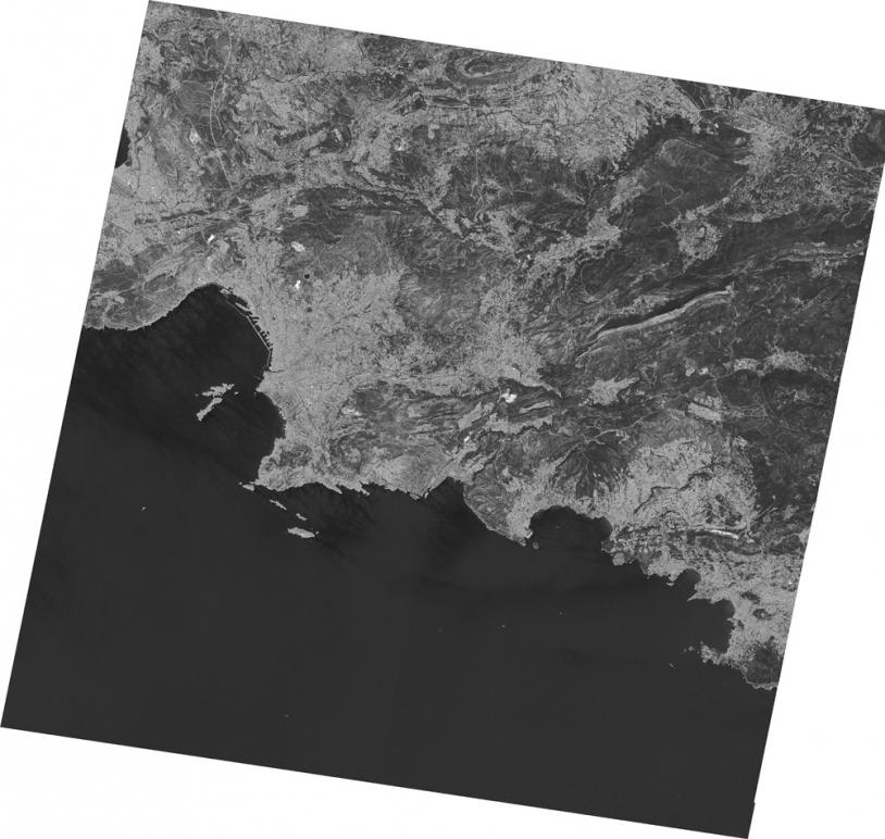 Marseille. Dernière image Spot 2 en panchromatique, juillet 2009. ©CNES/Spot Image