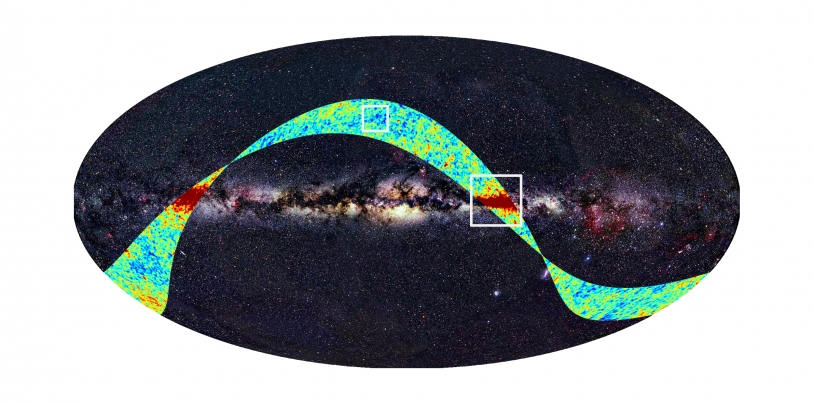 Portion of the sky observed by Planck over a 2-week period in August. Credits: ESA, LFI & HFI Consortia (Planck), Axel Mellinger.