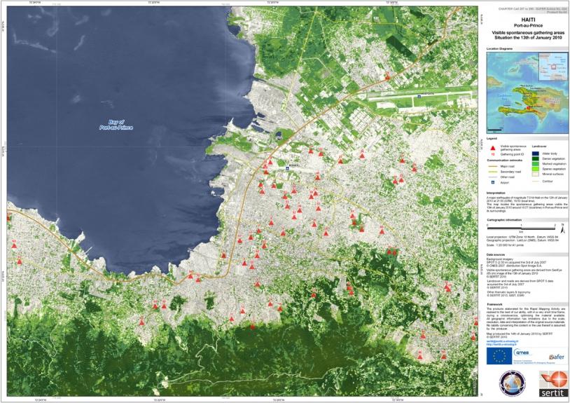 Image satellite de Port-au-Prince réalisée à partir d'une image GeoEye du 13 janvier et d'une image Spot-5 du 15 janvier en fond (La cartographie rapide est réalisée dans le cadre du projet européen GMES/SAFER). Crédits : CNES/SERTIT.