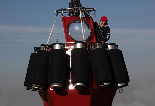 Jean-Louis Etienne inside the gondola of a replica of his balloon. Credits: F. Latreille/Septième Continent.