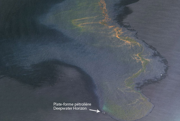 SPOT 5 image of the oil spill in the Gulf of Mexico. Credits: Spot Image