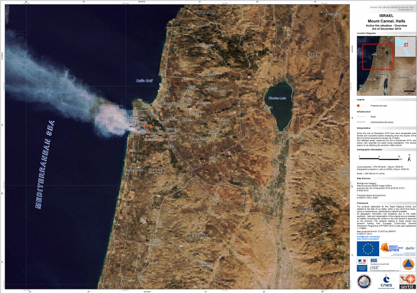 Map of active fires on 3 December on Mount Carmel, Haifa (1:200 000). Credits: SERTIT 2010.