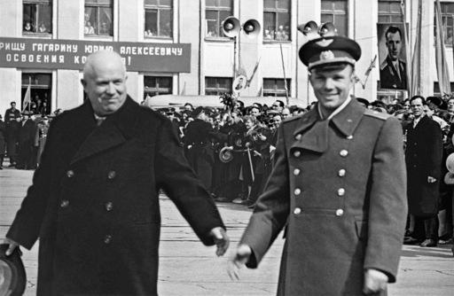 Yuri Gagarin and Nikita Khrushchev at Moscow's Vnukovo airport just after the cosmonaut's historic flight in 1961. Credits: RIA Novosti/Aleksandr Sergeev.