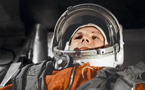 Cosmonaut Yuri Gagarin in the Vostok spacecraft, 12 April 1961. Credits: RIA Novosti.