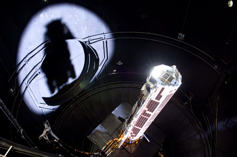 GOCE undergoing tests just before its launch in 2009. Credits: ESA.