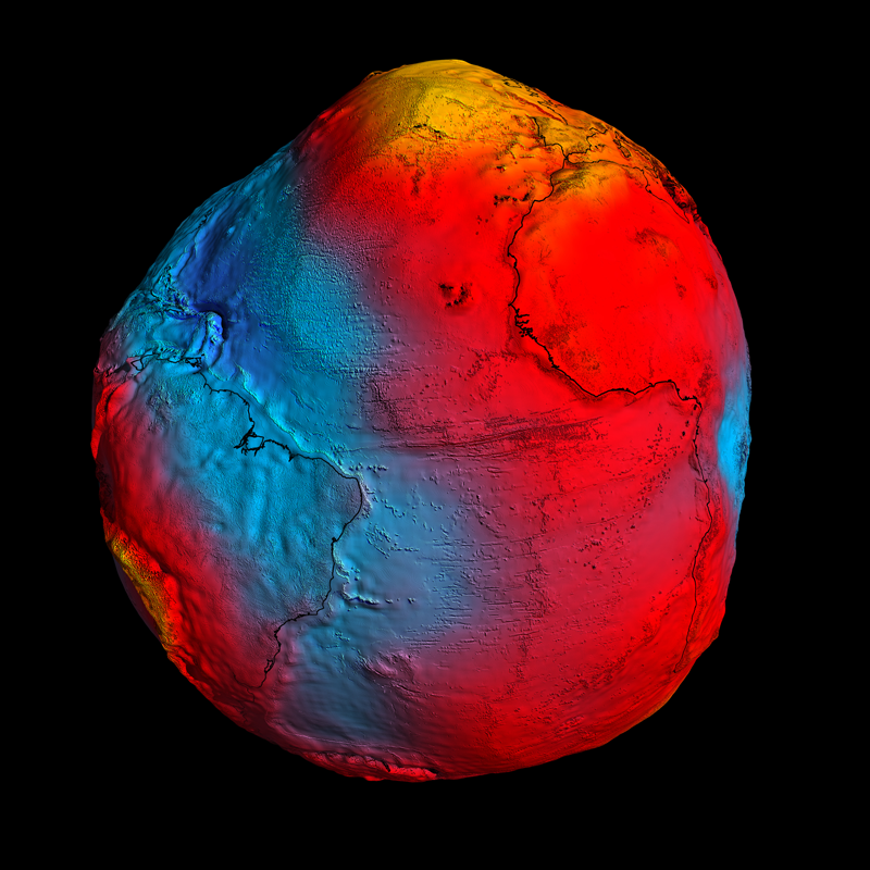 The best view yet of Earth's geoid obtained by GOCE (strongest gravity measurements in yellow, weakest measurements in blue). Credits: ESA/HPF/DLR.