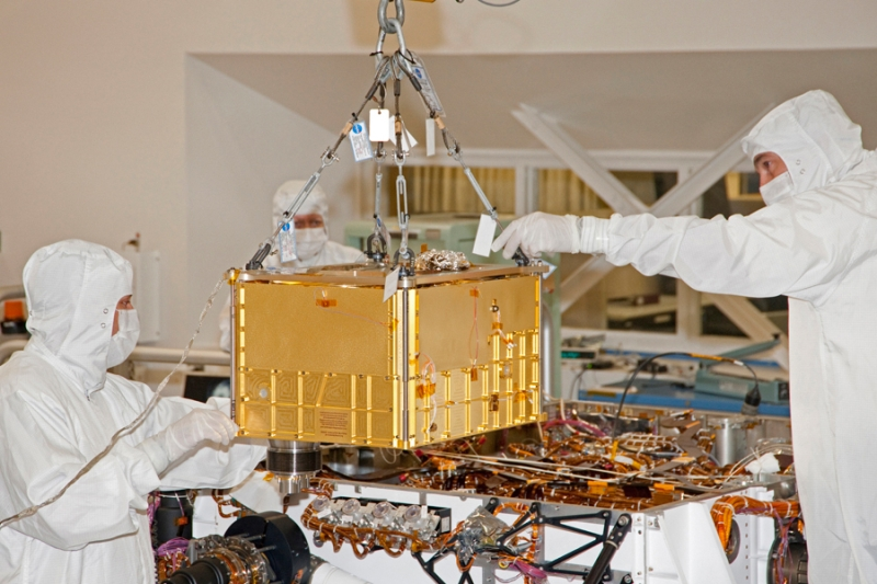 The SAM suite is integrated on the Curiosity rover in January 2011 at JPL, California. Credits: NASA.