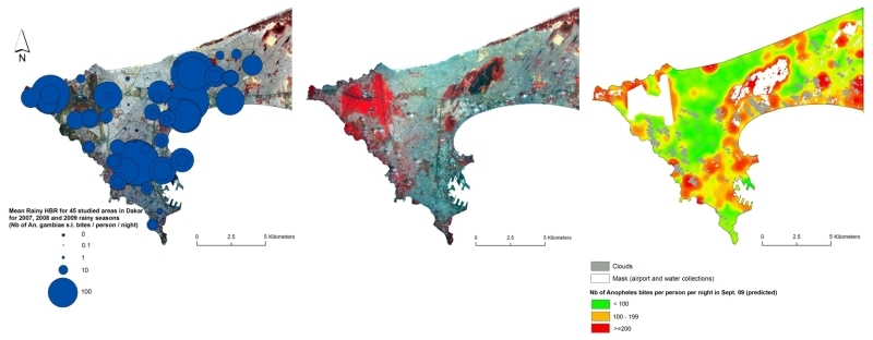 Maps of urban malaria in Dakar, Senegal. From left: bites from Anopheles mosquitoes per person per night, 2009 rainy season; 2.5-m SPOT 5 image from the same period; predictive entomological exposure map for 20 September 2009. Credits: CNES/ Spot Image.
