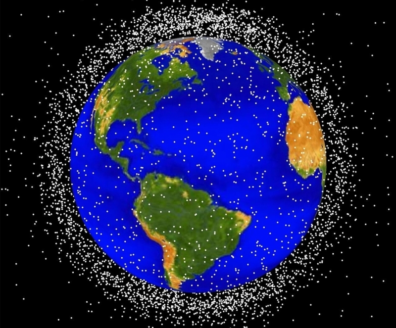 A picture of the cloud of space debris in low-Earth orbit. Credits: NASA.