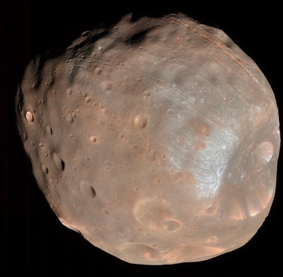 Phobos pictured by the U.S. Mars Reconnaissance Orbiter in 2008. Credits: University of Arizona/HiRise-LPL.