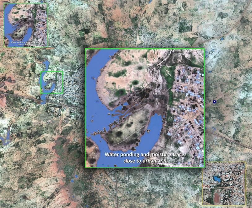 Ville de Dosso au Niger : zones inondées résiduelles réalisée à partir d'une image Pléiades. CNES 2012 - Distribution Astrium Services / Spot Image S.A., tous droits réservés, carte produite par le SERTIT.