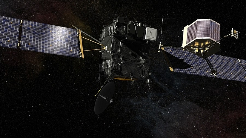 Rosetta's Philae lander is scheduled to separate from the orbiter and touch down on the comet in November 2014. CNES/EKIS France, 2013.