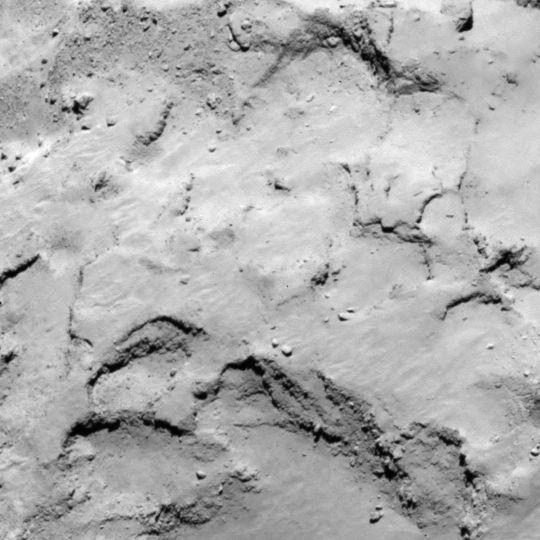 Site J is located on the smaller lobe of 67P's nucleus. Credits: ESA/Rosetta/MPS for OSIRIS Team MPS/UPD/LAM/IAA/SSO/INTA/UPM/DASP/IDA.