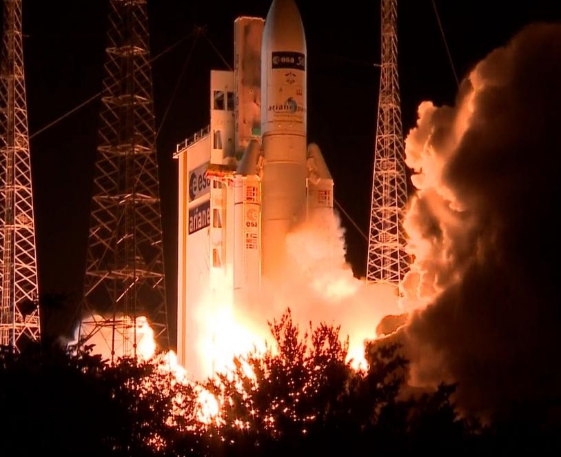 Liftoff Ariane 5 with ATV-5 on board. Credits: ESA-CNES-Arianespace/Optique vidéo du CSG.