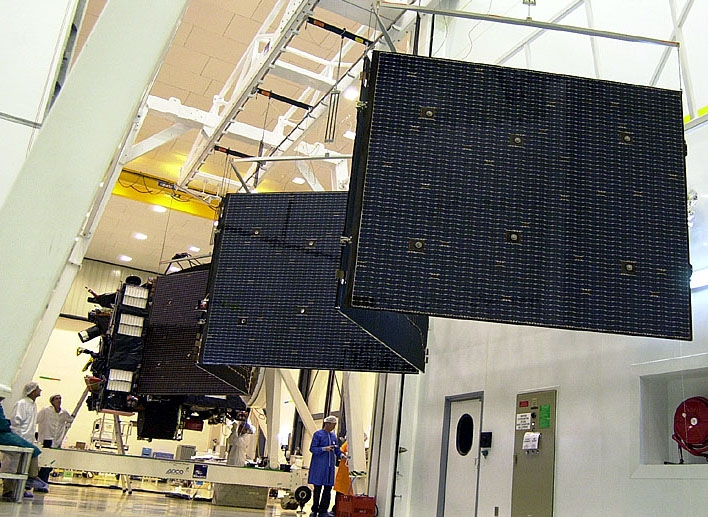 Tests de déploiement des panneaux solaires de la sonde Rosetta. Crédits : ESA/CNES/Arianespace