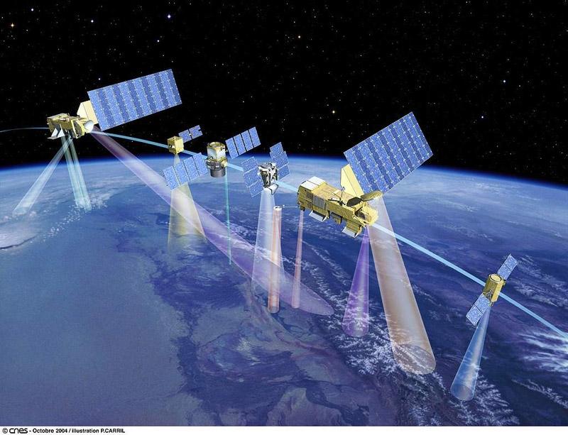 L'A-train, constitué de 6 satellites. Crédits : CNES/Ill. P. CArril