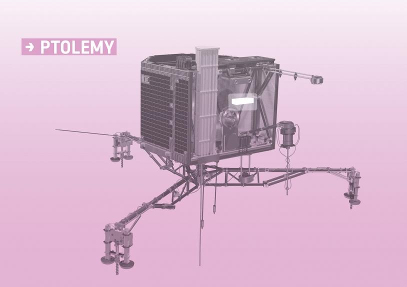 Emplacement de l'instrument PTOLEMY sur Philae. Crédits : ESA/ATG medialab.