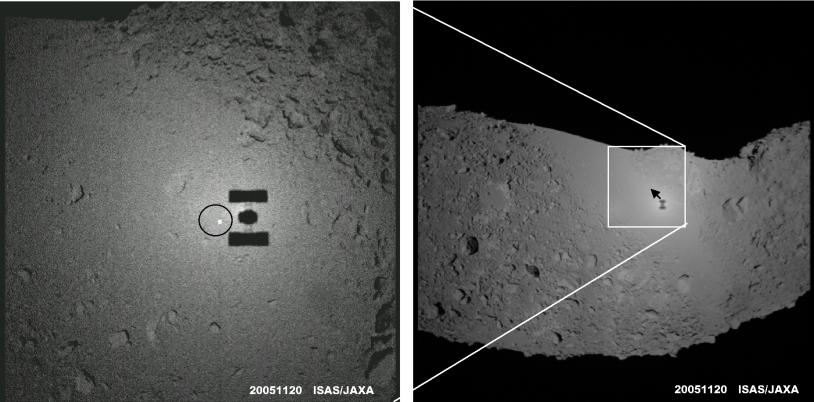 On 20 November 2005, the shadow of Japan's Hayabusa probe was clearly visible on the surface of asteroid Itokawa. The spacecraft was just 32 m from the surface with the Sun directly behind it, producing a spectacular opposition surge. Credits: ISAS/...